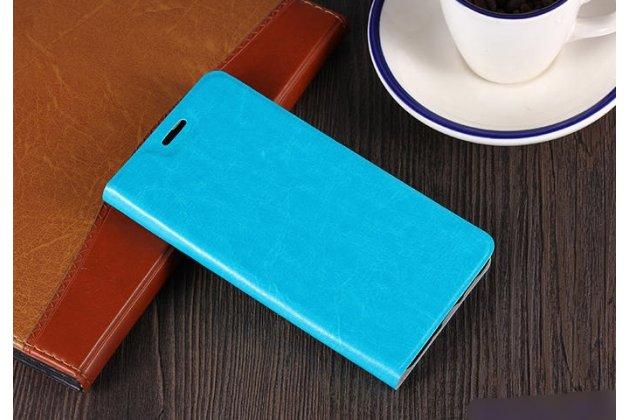 Фирменный чехол-книжка из качественной водоотталкивающей импортной кожи на жёсткой металлической основе для ASUS ZenFone 5 Lite ZC600KL 3/ 4 голубой