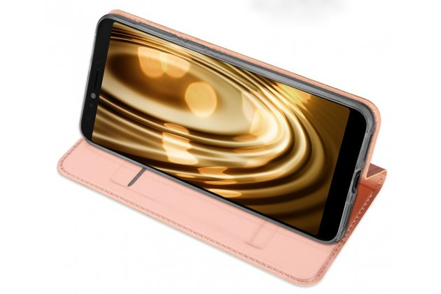 Фирменный чехол-книжка водоотталкивающий с мульти-подставкой на жёсткой металлической основе для ASUS ZenFone 5 Lite ZC600KL 3/ 4 золотой