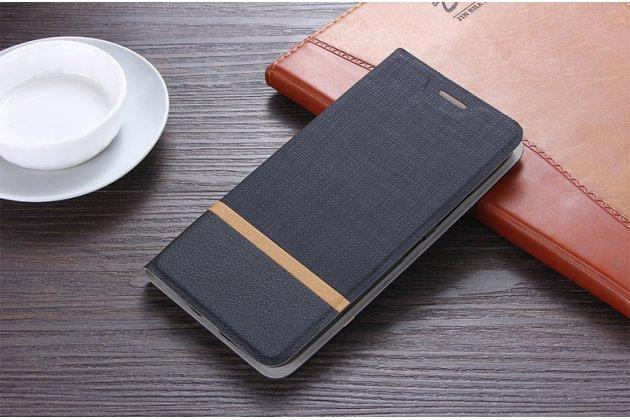 Фирменный чехол-книжка водоотталкивающий с мульти-подставкой на жёсткой металлической основе для ASUS ZenFone 5/ 5Z (ZE620KL/ZS620KL) черный из настоящей джинсы