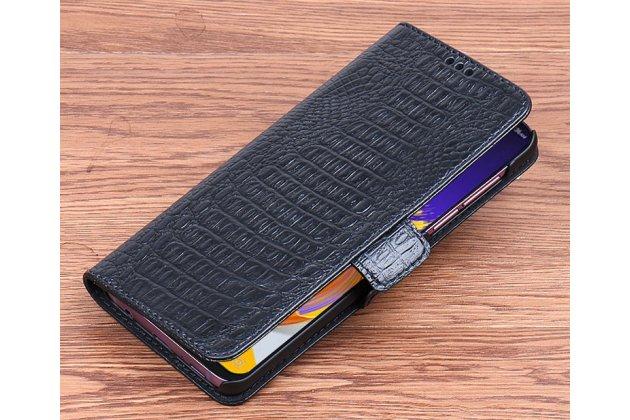 Фирменный роскошный эксклюзивный чехол с фактурной прошивкой рельефа кожи крокодила и визитницей черный для ASUS ZenFone 5/ 5Z (ZE620KL/ZS620KL). Только в нашем магазине. Количество ограничено