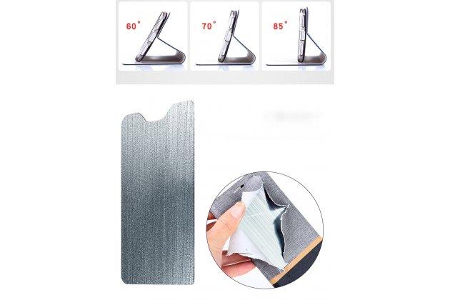 Фирменный чехол-книжка водоотталкивающий с мульти-подставкой на жёсткой металлической основе для ASUS ZenFone 5/ 5Z (ZE620KL/ZS620KL) серый из настоящей джинсы