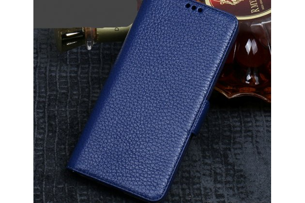 Фирменный премиальный элитный чехол-книжка из качественной импортной кожи с мульти-подставкой и визитницей для ASUS ZenFone 5/ 5Z (ZE620KL/ZS620KL)  синий