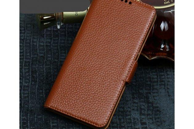 Фирменный премиальный элитный чехол-книжка из качественной импортной кожи с мульти-подставкой и визитницей для ASUS ZenFone 5/ 5Z (ZE620KL/ZS620KL) коричневый