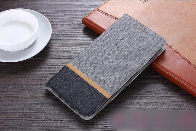 Фирменный чехол-книжка водоотталкивающий с мульти-подставкой на жёсткой металлической основе для ASUS ZenFone Max M1 (ZB555KL) серый из настоящей джинсы
