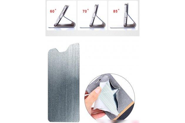Фирменный чехол-книжка водоотталкивающий с мульти-подставкой на жёсткой металлической основе для ASUS ZenFone Max M1 (ZB555KL) черный из настоящей джинсы
