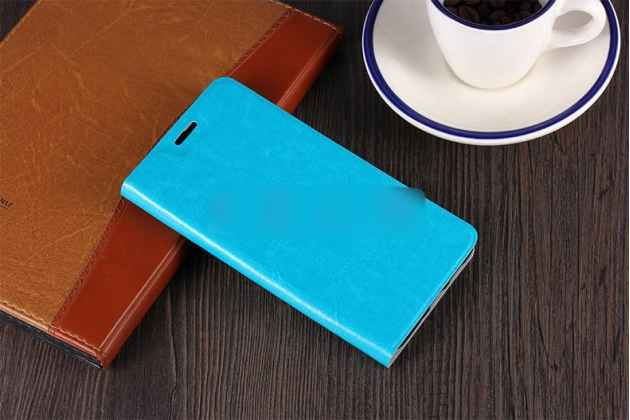 Фирменный чехол-книжка из качественной водоотталкивающей импортной кожи на жёсткой металлической основе для ASUS ZenFone Max M1 (ZB555KL) голубой