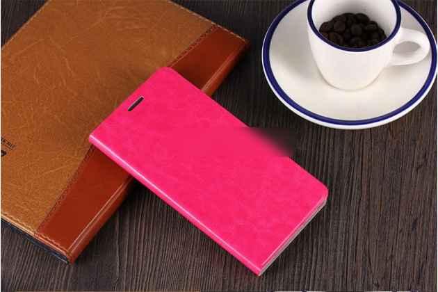Фирменный чехол-книжка из качественной водоотталкивающей импортной кожи на жёсткой металлической основе для ASUS ZenFone Max M1 (ZB555KL) розовый