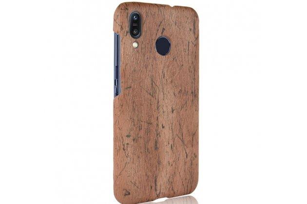 Фирменная оригинальная деревянная из натурального бамбука задняя панель-крышка-накладка для ASUS ZenFone Max M1 (ZB555KL) коричневая
