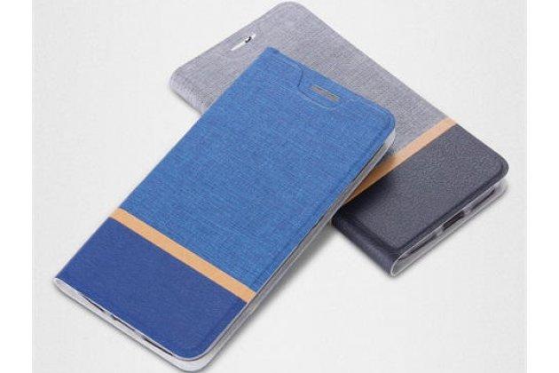 Фирменный чехол-книжка водоотталкивающий с мульти-подставкой на жёсткой металлической основе для ASUS ZenFone Max M1 (ZB555KL) синий из настоящей джинсы
