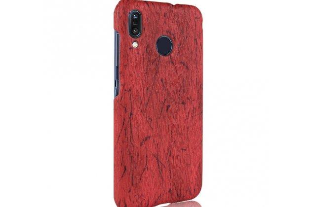 Фирменная оригинальная деревянная из натурального бамбука задняя панель-крышка-накладка для ASUS ZenFone Max M1 (ZB555KL) красная