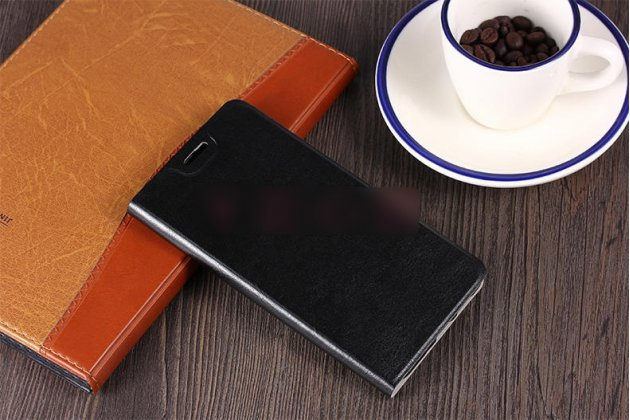 Фирменный чехол-книжка из качественной водоотталкивающей импортной кожи на жёсткой металлической основе для ASUS ZenFone Max M1 (ZB555KL) черный