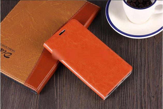 Фирменный чехол-книжка из качественной водоотталкивающей импортной кожи на жёсткой металлической основе для ASUS ZenFone Max M1 (ZB555KL) коричневый