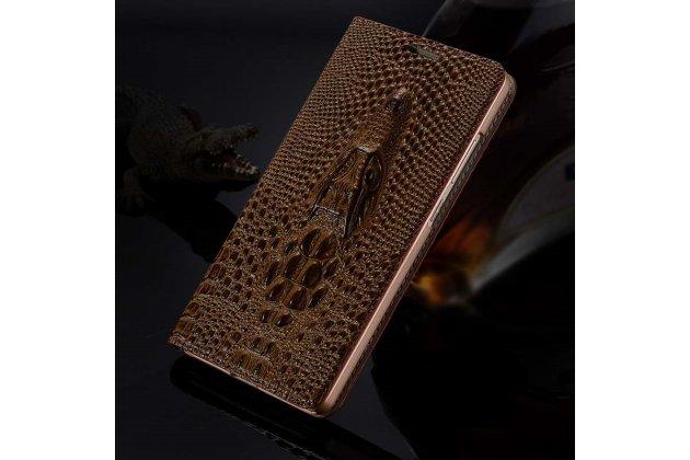 Фирменный роскошный эксклюзивный чехол с объёмным 3D изображением кожи крокодила коричневый для Huawei Mate 20 6.53. Только в нашем магазине. Количество ограничено