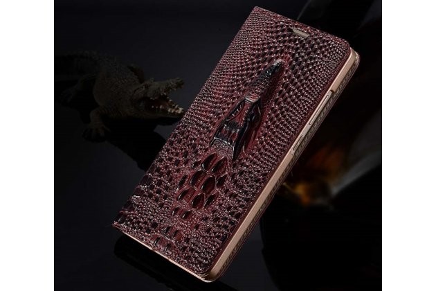 Фирменный роскошный эксклюзивный чехол с объёмным 3D изображением кожи крокодила цвет красное вино для Huawei Mate 20 6.53. Только в нашем магазине. Количество ограничено