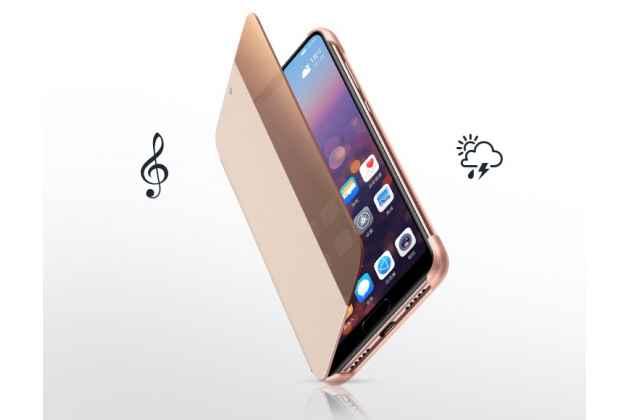 Фирменный оригинальный подлинный чехол с боковым окном с логотипом для Huawei P20 5.8 (EML-AL00) розовое золото