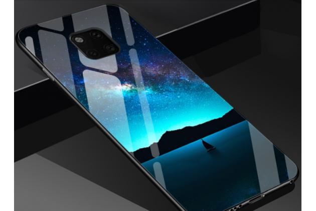 """Фирменный ультра-тонкий силиконовый чехол-бампер для Huawei Mate 20 6.53 с закаленным стеклом на заднюю крышку телефона """"тематика Рассвет"""""""