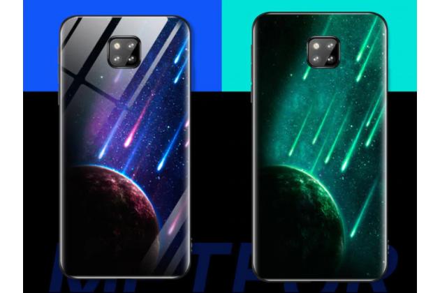 """Фирменный ультра-тонкий силиконовый чехол-бампер для Huawei Mate 20 6.53 с закаленным стеклом на заднюю крышку телефона """"тематика Вселенная"""""""