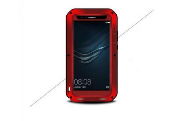 Неубиваемый водостойкий противоударный водонепроницаемый грязестойкий влагозащитный ударопрочный фирменный чехол-бампер для Huawei P20 5.8 (EML-AL00) цельно-металлический со стеклом Gorilla Glass красный