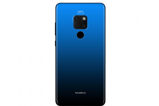 """Фирменный ультра-тонкий силиконовый чехол-бампер для Huawei Mate 20 6.53 с закаленным стеклом на заднюю крышку телефона """"тематика Градиент"""" синий"""