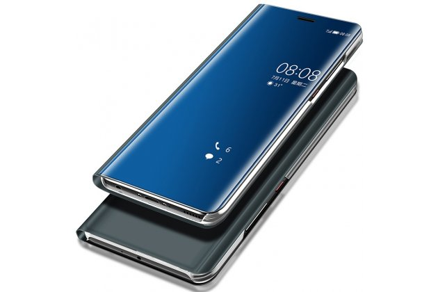 """Чехол-книжка с дизайном """"Clear View Standing Cover"""" полупрозрачный с зеркальной поверхностью для Huawei P20 5.8 (EML-AL00) синий"""
