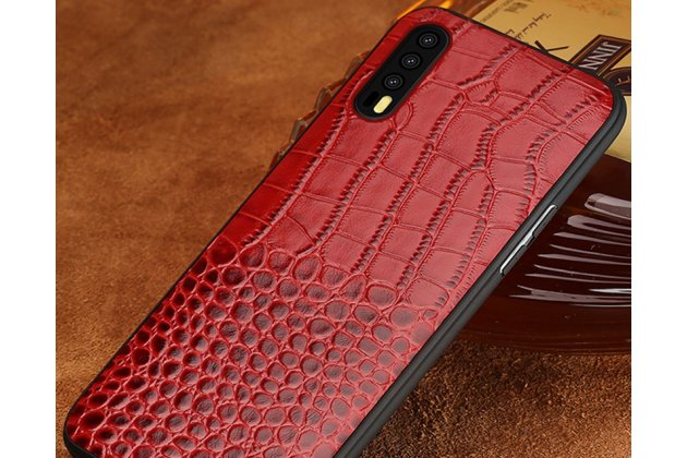 Фирменная элегантная задняя панель-крышка с фактурной отделкой кожи крокодила красного цвета для Huawei P20 5.8 (EML-AL00). Только в нашем магазине. Количество ограничено.