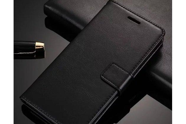 Фирменный чехол-книжка из качественной импортной кожи с подставкой застёжкой и визитницей для Huawei P20 5.8 (EML-AL00) черный