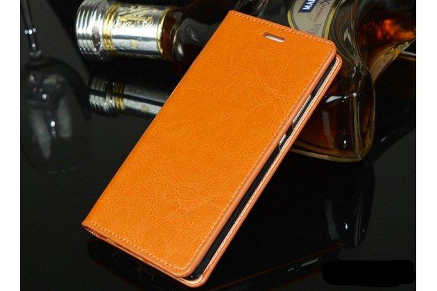 Фирменный чехол-книжка из качественной импортной кожи с подставкой и визитницей для Huawei P20 5.8 (EML-AL00) оранжевый