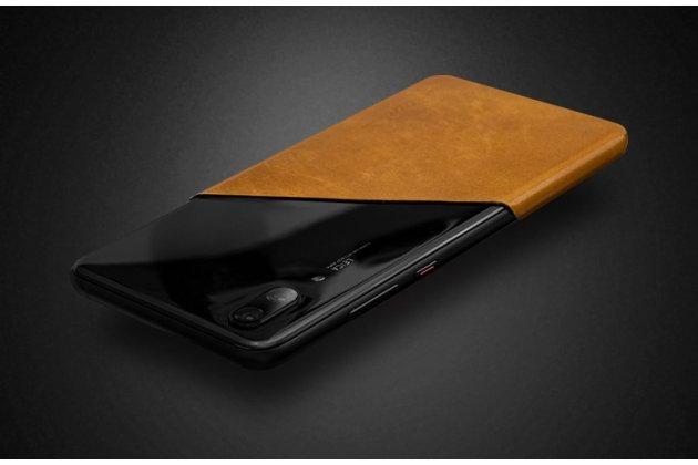 Оригинальная эксклюзивная задняя кожаная наклейка (из натуральной кожи) для Huawei P20 5.8 (EML-AL00) красная