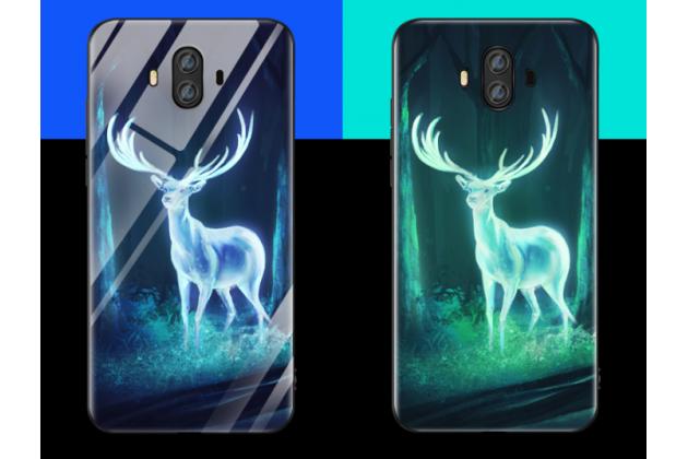 """Фирменный ультра-тонкий силиконовый чехол-бампер для Huawei Mate 20 Pro / Mate 20 RS 6.39 с закаленным стеклом на заднюю крышку телефона """"тематика Олень"""""""