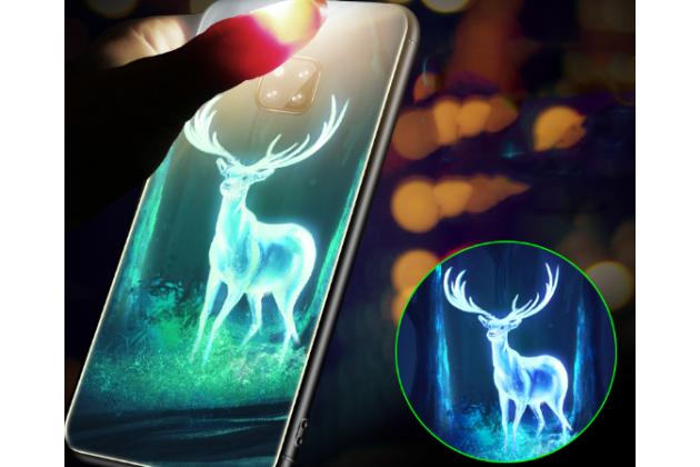 """Фирменный ультра-тонкий силиконовый чехол-бампер для Huawei Mate 20 6.53 с закаленным стеклом на заднюю крышку телефона """"тематика Олень"""""""