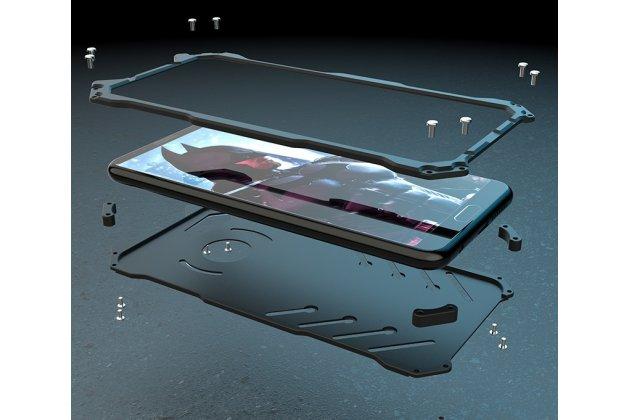 Противоударный металлический чехол-бампер из цельного куска металла с усиленной защитой углов и необычным экстремальным дизайном  для  Huawei P20 5.8 (EML-AL00) черного цвета