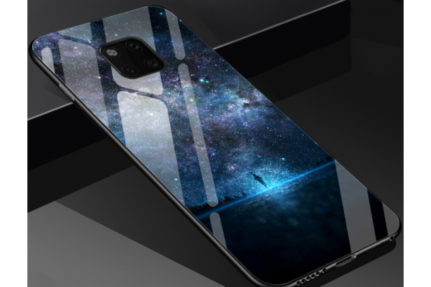 """Фирменный ультра-тонкий силиконовый чехол-бампер для Huawei Mate 20 6.53 с закаленным стеклом на заднюю крышку телефона """"тематика Ночь"""""""