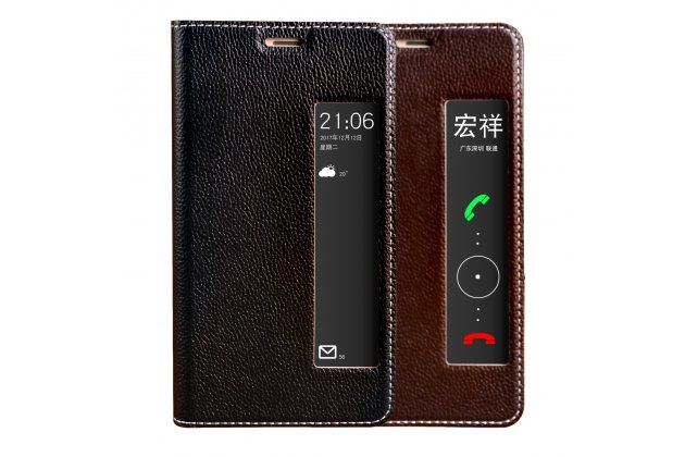Фирменный оригинальный чехол-книжка для Huawei P20 5.8 (EML-AL00) черный с окошком для входящих вызовов водоотталкивающий