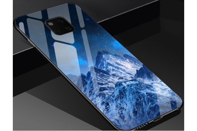 """Фирменный ультра-тонкий силиконовый чехол-бампер для Huawei Mate 20 6.53 с закаленным стеклом на заднюю крышку телефона """"тематика Снежные горы"""""""