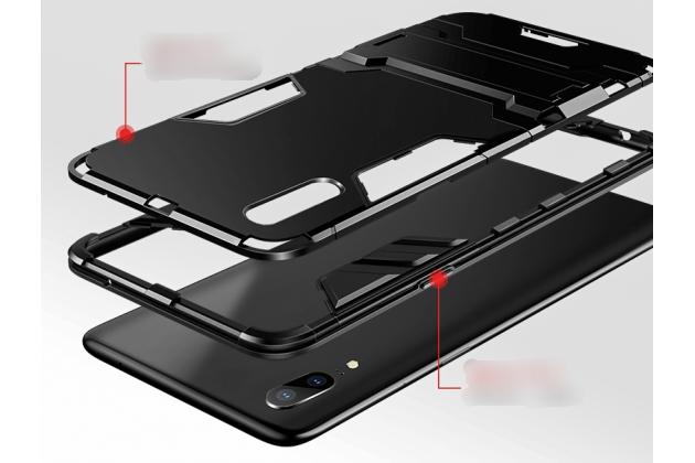Противоударный усиленный ударопрочный фирменный чехол-бампер-пенал для Huawei P20 5.8 (EML-AL00) черный