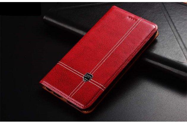 Фирменный премиальный чехол-книжка из качественной импортной кожи с мульти-подставкой и визитницей для Huawei P20 5.8 (EML-AL00) красный