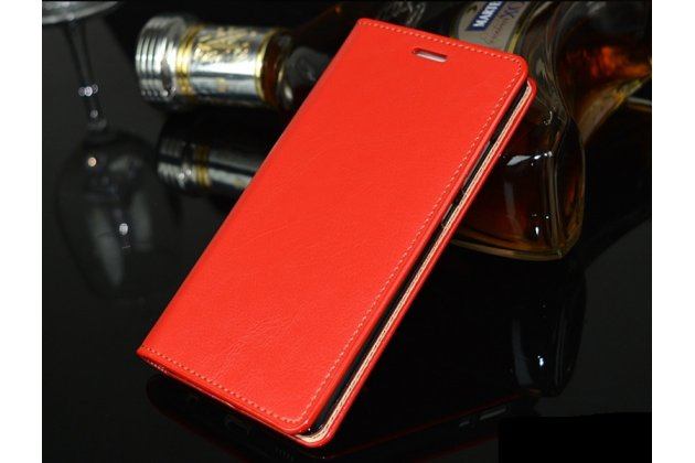 Фирменный чехол-книжка из качественной импортной кожи с подставкой и визитницей для Huawei P20 5.8 (EML-AL00) красный