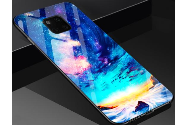 """Фирменный ультра-тонкий силиконовый чехол-бампер для Huawei Mate 20 6.53 с закаленным стеклом на заднюю крышку телефона """"тематика Звездная река"""""""