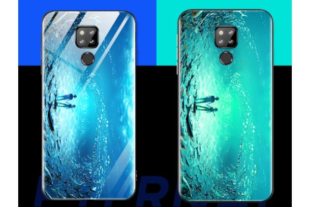 """Фирменный ультра-тонкий силиконовый чехол-бампер для Huawei Mate 20 6.53 с закаленным стеклом на заднюю крышку телефона """"тематика Водный мир"""""""