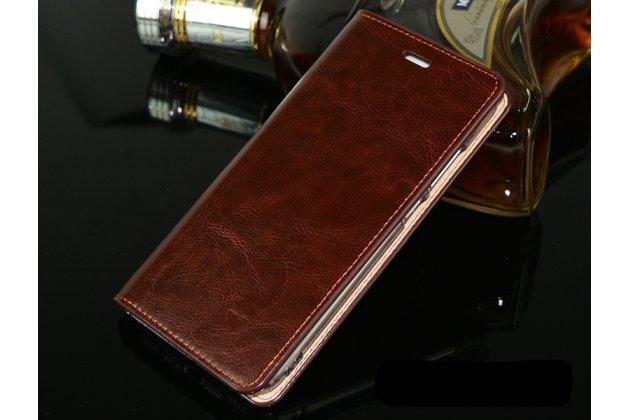 Фирменный чехол-книжка из качественной импортной кожи с подставкой и визитницей для Huawei P20 5.8 (EML-AL00) коричневый