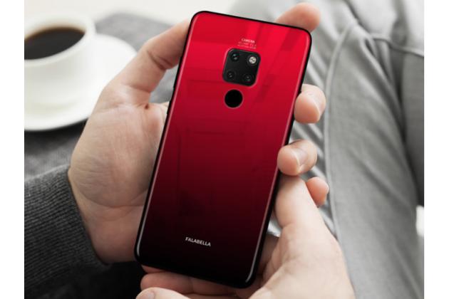 """Фирменный ультра-тонкий силиконовый чехол-бампер для Huawei Mate 20 6.53 с закаленным стеклом на заднюю крышку телефона """"тематика Градиент"""" красный"""