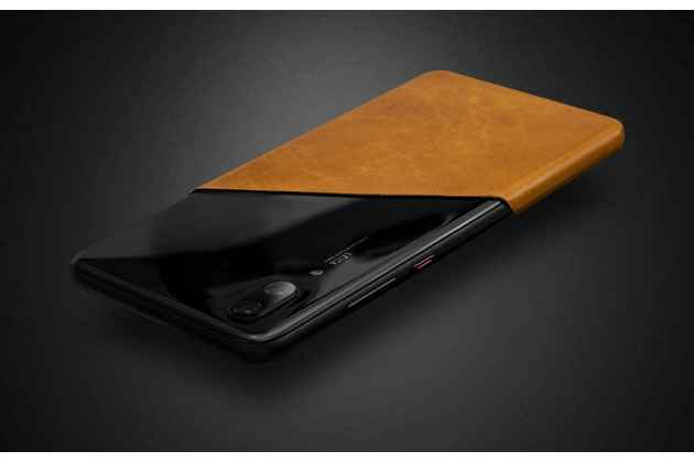Оригинальная эксклюзивная задняя кожаная наклейка (из натуральной кожи) для Huawei P20 Pro / Huawei P20 Plus  красная