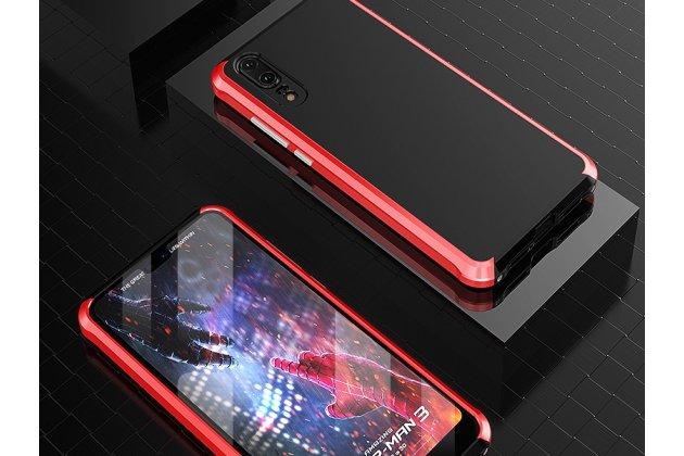 Фирменная задняя панель-крышка-накладка из тончайшего и прочного пластика черная в красном металлическом корпусе для Huawei P20 Pro / Huawei P20 Plus