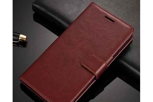 Фирменный чехол-книжка из качественной импортной кожи с подставкой застёжкой и визитницей для Huawei P20 Pro / Huawei P20 Plus коричневый