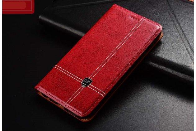 Фирменный премиальный чехол-книжка из качественной импортной кожи с мульти-подставкой и визитницей для Huawei P20 Pro / Huawei P20 Plus красный