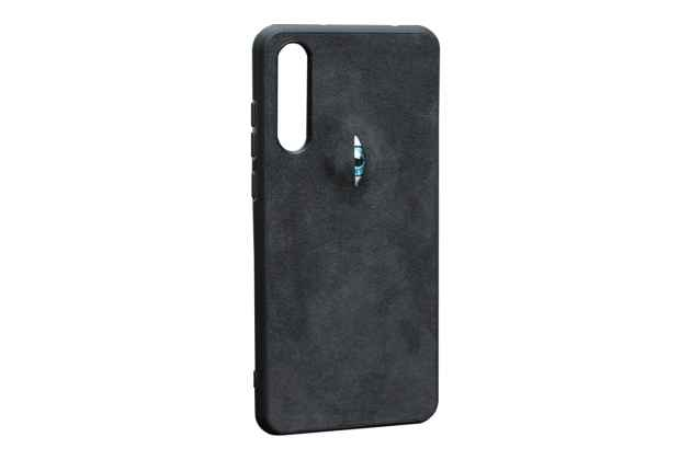 Фирменная оригинальная задняя панель-крышка-накладка из замши для Huawei P20 Pro / Huawei P20 Plus  в черном цвете