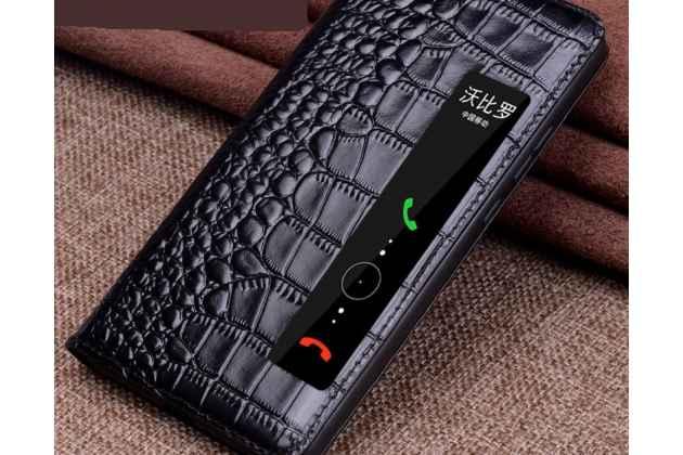 Фирменный роскошный эксклюзивный чехол с фактурной прошивкой рельефа кожи крокодила и окошком для входящих вызовов для Huawei P20 Pro / Huawei P20 Plus  черный