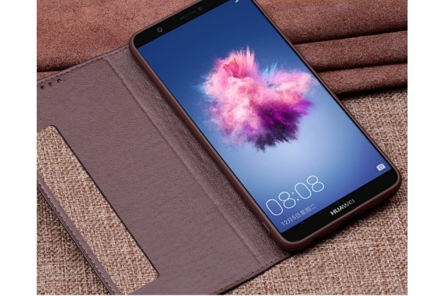 Фирменный роскошный эксклюзивный чехол с фактурной прошивкой рельефа кожи крокодила и окошком для входящих вызовов для Huawei P20 Pro / Huawei P20 Plus  коричневый
