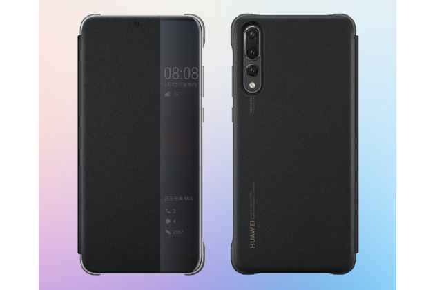 Фирменный оригинальный подлинный чехол с боковым окном с логотипом для Huawei P20 Pro / Huawei P20 Plus  черный