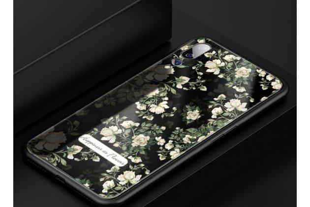 """Фирменный ультра-тонкий силиконовый чехол-бампер для Huawei P20 Pro / Huawei P20 Plus  с закаленным стеклом на заднюю крышку телефона """"тематика Розы"""""""